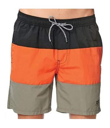 Short de bain noir/orange/taupe homme Globe Sidekicker