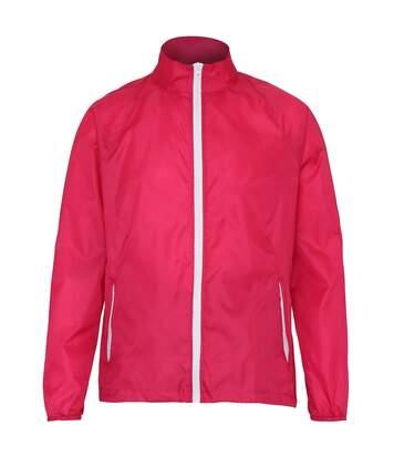 2786 Mens Contrast Lightweight Windcheater Shower Proof Jacket (Pack of 2) (XL) (Hot Pink/ White) - UTRW7001