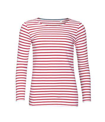 Sols Marine - T-Shirt Rayé À Manches Longues - Femme (Blanc/Rouge) - UTPC2580
