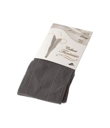 Collant chaud - 1 paire - Fantaisie - Ultra opaque - Mat - Coutures plates - Gousset coton - Couture - Gris - Prestige