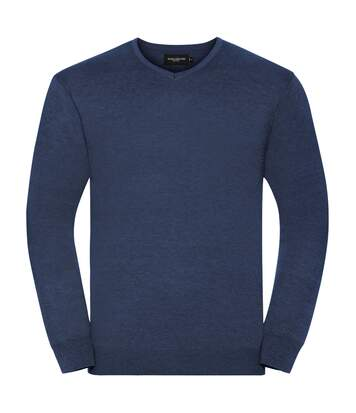 Russell Collection Mens V-Neck Knitted Pullover Sweatshirt (Denim Marl) - UTBC1012