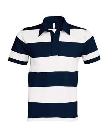 Polo homme rugby - K237 rayé bleu marine et blanc - manches courtes