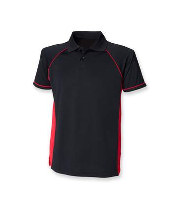 Finden & Hales Mens Panel Performance Sports Polo T-Shirt (Black/Red) - UTRW414