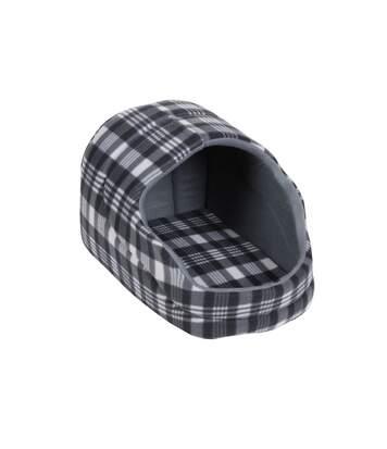 Panier pour chien avec toit Ecossais - Taille S - Gris