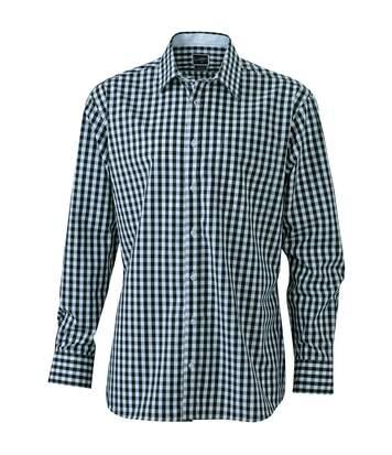 chemise manches longues carreaux vichy HOMME JN617 - noir