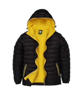 2786 Mens Hooded Water & Wind Resistant Padded Jacket (Black/Bright Yellow) - UTRW3424