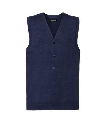 Russell Collection Mens V-neck Sleeveless Knitted Cardigan (French Navy) - UTRW6080
