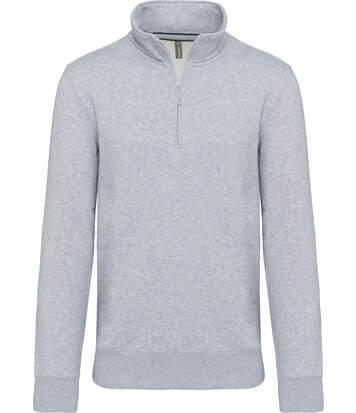Sweat-shirt col zippé - K487 - gris chiné