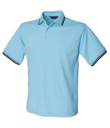 Henbury Mens 65/35 Tipped Polo Shirt (Sky/Navy) - UTRW631