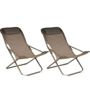 Chaise relax en acier et toile Easy (Lot de 2)