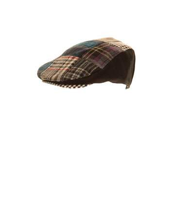 Mens Patchwork Winter Flat Cap With Wool (Black) - UTHA254