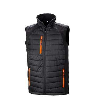 Result Mens Black Compass Padded Soft Shell Gilet (Black/Orange) - UTPC3327