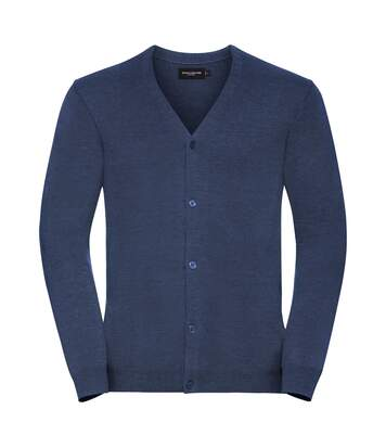 Russell Mens Cotton Acrylic V Neck Cardigan (Denim Marl) - UTPC3137