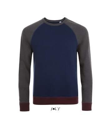 Sweat shirt vintage unisexe - 01700 - bleu marine chiné