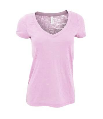 Bella + Canvas - T-Shirt À Manches Courtes Et Col En V - Femme (Rose) - UTRW3106