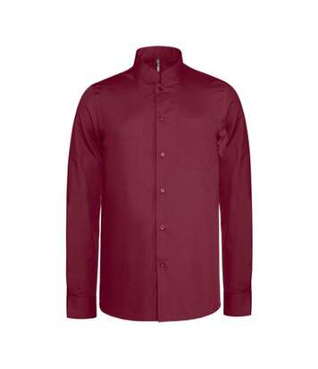 Kariban Mens Long Sleeve Mandarin Collar Shirt (Wine) - UTPC2540