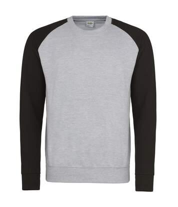 Awdis Mens Two Tone Cotton Rich Baseball Sweatshirt (Charcoal/Jet Black) - UTRW3929