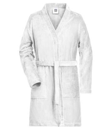 Peignoir court en coton bio peigné pour femme - MB447 - blanc