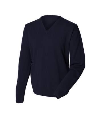 Henbury Mens Lambswool Woolmark® V-Neck Jumper / Sweatshirt (Navy) - UTRW665