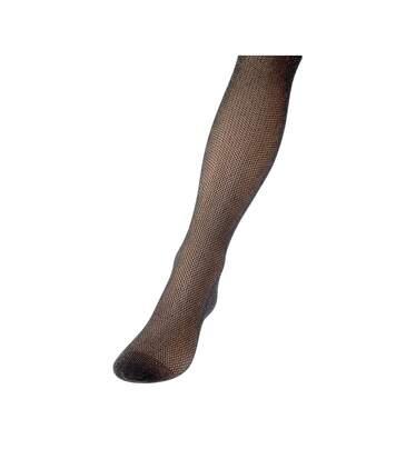 Collant fin - 1 paire - Fantaisie - Transparent - Brillant - Gousset polyamide - Glitter (métallisé) - Noir