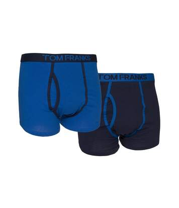 Mens Keyhole Boxer Trunks/Shorts (Pack Of 2) (Blue) - UTMU154