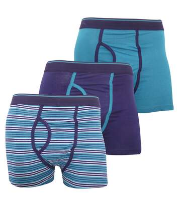 FLOSO Mens Cotton Mix Key Hole Trunks Underwear (Pack Of 3) (Teal) - UTMU170