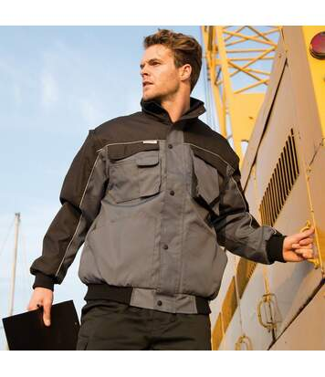 Result Mens Workguard Zip Sleeve Heavy Duty Water Repellent Windproof Jacket (Tan/Black) - UTBC931