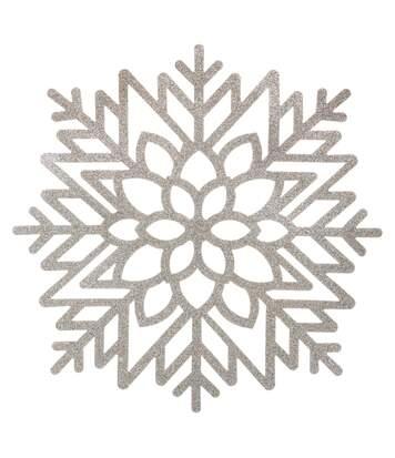 Set de table de Noël design Flocon - Diam. 42 cm - Argent