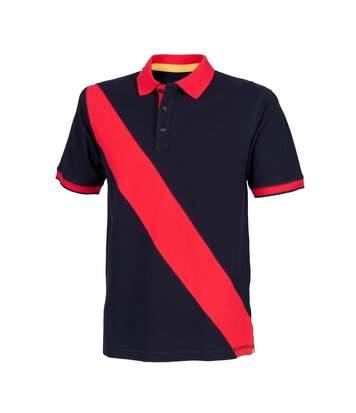 Front Row - Polo De Rugby À Manches Courtes 100% Coton - Homme (Rose vif/Bleu marine) - UTRW2683