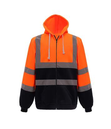 Yoko Mens Hi Visibility Full Zip Reflective Work Hoodie (Orange/ Navy) - UTRW5256