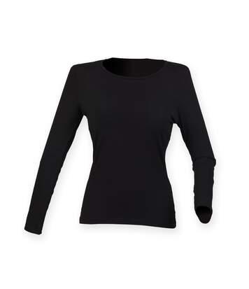 Skinni Fit Womens/Ladies Feel Good Stretch Long Sleeve T-Shirt (Black) - UTRW4726