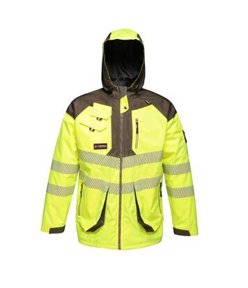 Regatta Mens Hi-Vis Waterproof Reflective Parka Jacket (Yellow/Grey) - UTRG4536