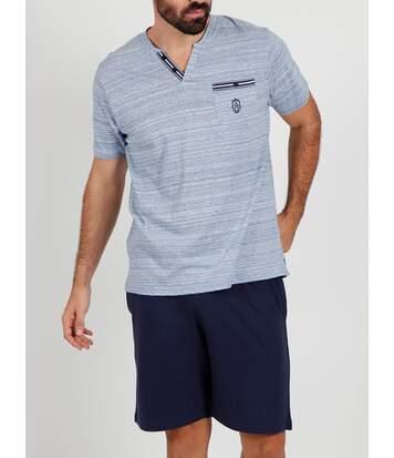Pyjama short t-shirt Light Stripes bleu Admas
