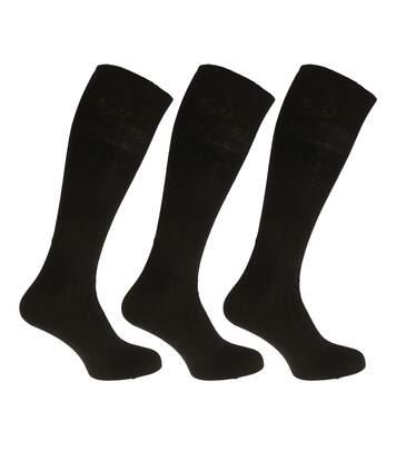 Mens 100% Cotton Ribbed Knee High Socks (Pack Of 3) (Black) - UTMB489