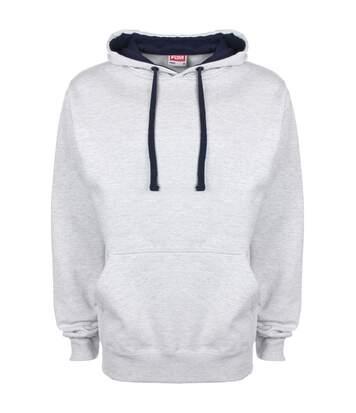 Fdm - Sweatshirt À Capuche Contrastée - Homme (Gris chiné/Bleu marine) - UTBC2025