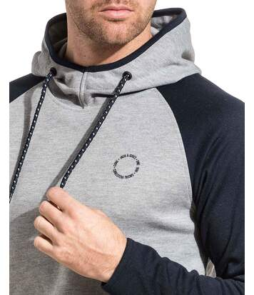 Sweat homme urbain gris et bleu à capuche