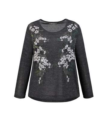 Pull, relaxed, maille fine, imprimé fleurs