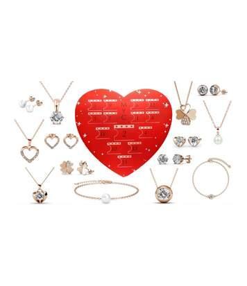 Coffret cadeaux cœur - 14 bijoux - Finition or rosée