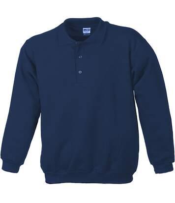 Sweat-shirt col polo - homme - JN041 - bleu marine