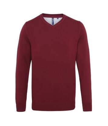 Asquith & Fox Mens Cotton Rich V-Neck Sweater (Burgundy) - UTRW5188