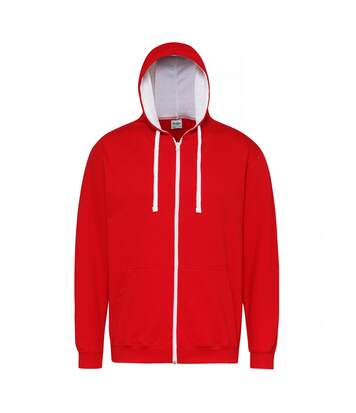 Awdis Mens Varsity Hooded Sweatshirt / Hoodie / Zoodie (Fire Red/Arctic White) - UTRW182