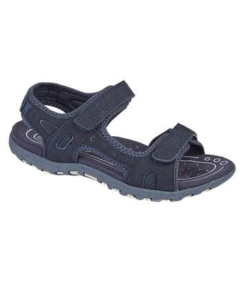 PDQ Ladies/Womens Twin Touch Fastening Sandals (Navy) - UTDF1742