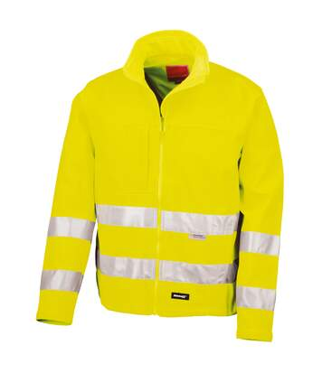 Result Core Mens High-Visibility Winter Blouson Softshell Jacket (Water Resistant & Windproof) (Pack of 2) (Flourescent Yellow) - UTRW6876