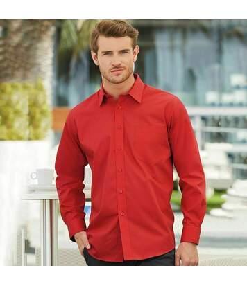 Fruit Of The Loom Mens Long Sleeve Poplin Shirt (Mid Blue) - UTBC405