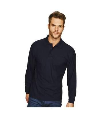 Casual Classic Mens Long Sleeve Polo (Navy) - UTAB452