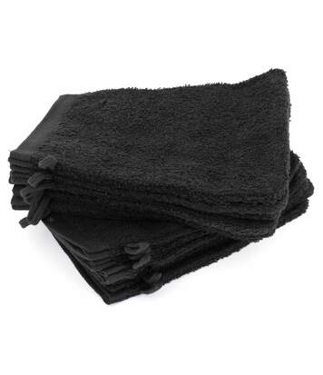 Lot de 12 gants de toilette 16x21 cm ALPHA noir