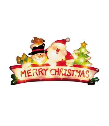 Christmas Shop - Écriteau Illuminé Père Noël Et Bonhomme De Neige (Prise Anglaise) (Multicolore) - UTRW5084