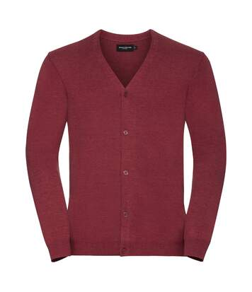 Russell Mens Cotton Acrylic V Neck Cardigan (Cranberry Marl) - UTPC3137