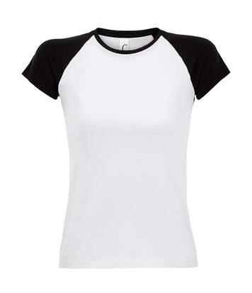 Sols Milky - T-Shirt À Manches Courtes En Contraste - Femme (Blanc / noir) - UTPC301