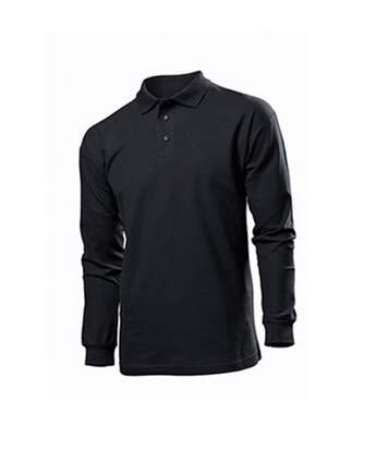 Stedman Mens Long Sleeved Cotton Polo (Black Opal) - UTAB285